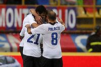 """Esultanza di Andrea Ranocchia Inter<br /> Goal celebration<br /> Bologna 28/10/2012 Stadio """"Dallara""""<br /> Football Calcio Serie A 2012/13<br /> Bologna v Inter<br /> Foto Insidefoto Paolo Nucci"""
