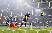 SOLNA, SWEDEN - MARCH 18: Kerim Mrbati of Djurgardens IF scores the decisive goal to 0-2 during the Swedish Cup Semifinal between AIK and Djurgardens IF at Friends arena on March 18, 2018 in Solna, Sweden. Photo by Nils Petter Nilsson/Ombrello ***BETALBILD***
