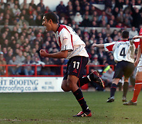 Picture: Henry Browne.<br /> Date: 25/01/2004.<br /> Nottingham Forest v Sheffield United FA Cup Fourth Round.<br /> <br /> Jack Lester celebrates after scoring for United from the spot.
