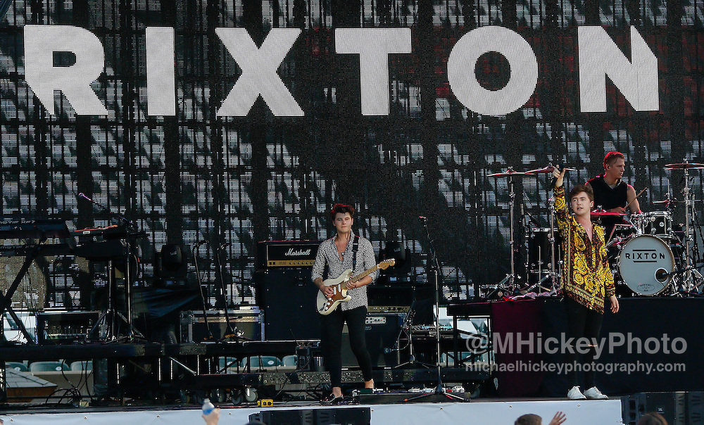 CINCINNATI - JUL 11: Charlie Bagnall and Jake Roche of Rixton performs at Paul Brown Stadium on July 11, 2015 in Cincinnati, Ohio. (Photo by Michael Hickey/Getty Images) *** Local Caption *** Charlie Bagnall; Jake Roche