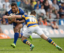 Otago's Latu Vaeno, right, looks to beat Bay of Plenty's Mike Delany in the Mitre 10 Cup rugby match, Forsyth Barr Stadium, Dunedin, New Zealand, Oct. 7 2017.  Credit:SNPA / Adam Binns ** NO ARCHIVING**