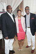 l to r: Javier Evans, Donna Duggins and Reggie Canal at The ABFF Luncheon Hosted by HSBC and Rush Philanthropic Arts held at The Delano in Miami Beach on June 27, 2009..The American Black Film Festival is an industry retreat and competitve marketplace for films and by and about people of color.