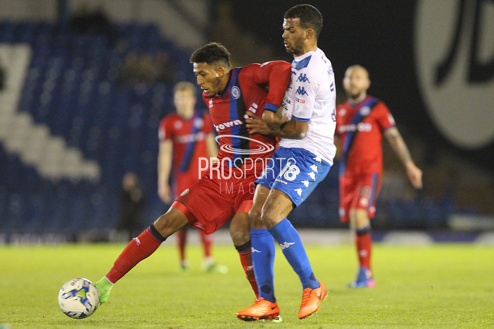 Jacob Mellis challenges Nathaniel Mendez-Laing during the EFL Sky Bet League 1 match between Bury and Rochdale at the JD Stadium, Bury, England on 13 April 2017. Photo by Daniel Youngs.