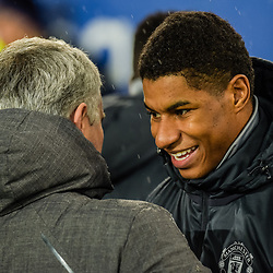 Jose Mourinho manager of Manchester United and Marcus Rashford of Manchester United during the Premier League match between Everton and Manchester United, Goodison Park, Monday 1st January 2018<br /> (c) John Baguley | SportPix.org.uk