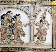 Detail from a 19th century enamel and glazed picture depicting the Hindu legend of the Ramayana. The Ramayana is one of the two epic Hindu poems, the other being the Mahabharata. The Ramayana describes a love story between Rama, an ancient King, and Sita, who is captured by Ravan, the King of Ceylon. Rama lays siege to Ceylon and wins back Sita
