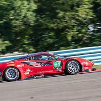 The Scuderia Corsa Ferrari 458 Italia car practice for the Sahlen's Six Hours At The Glen at Watkins Glen International Raceway in Watkins Glen, New York.