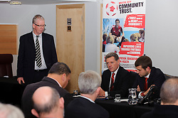 Bristol City Director Doug Harman and Football Managing Director Jon Lansdown speak as supporter liaison David Lloyd oversees proceedings during the clubs Annual Supporters Meeting held in the AMC Communications Lounge - Photo mandatory by-line: Rogan Thomson/JMP - Tel: Mobile: 07966 386802 06/12/2012 - SPORT - FOOTBALL - Ashton Gate - Bristol - Club AGM.