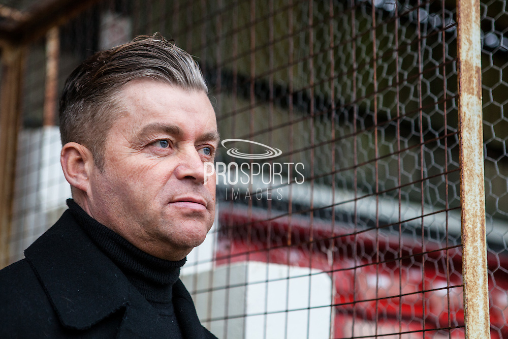 Whitehawk Manager Steve King during the FA Trophy match between Whitehawk FC and Dover Athletic at the Enclosed Ground, Whitehawk, United Kingdom on 12 December 2015. Photo by Bennett Dean.