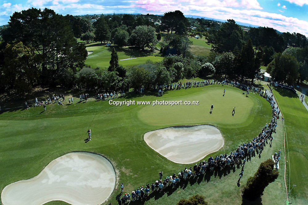 Sir Bob Charles and Peter O'Malley on the 13th green on day three of the Telstra Saturn New Zealand Golf Open, 20 January, 2001 at The Grange, Papatoetoe. Photo:Dean Treml/PHOTOSPORT *** Local Caption ***