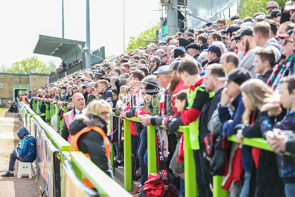 Away terrace during the EFL Sky Bet League 2 match between Forest Green Rovers and Exeter City at the New Lawn, Forest Green, United Kingdom on 4 May 2019.