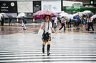 Lady walking under the rain. Typhoon number 10 called Lionrock hit japan early on morning, in Tokyo. 30/08/2016-Tokyo, JAPAN