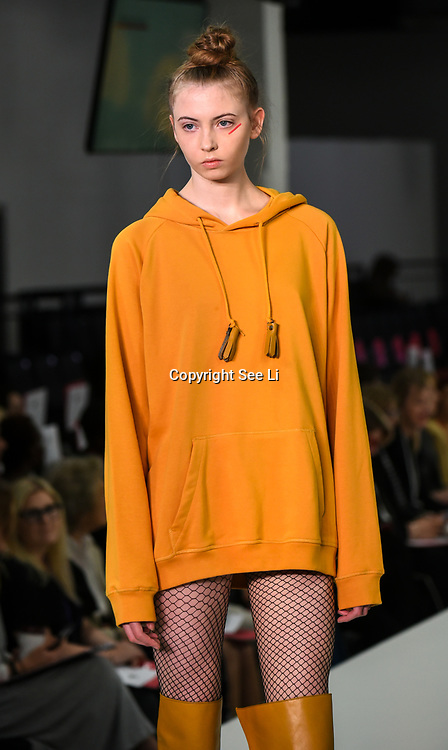 Designer Melissa Francis showcases it lastest collection at the Graduate Fashion Week 2018, 4 June 4 2018 at Truman Brewery, London, UK.