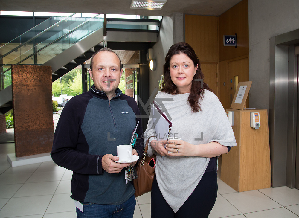 19.05.2017      <br /> Pictured at The Journey to Enterprise Excellence 1 Conference, Kemmy Business School, University of Limerick were, Mike O'Neill, Takumi and Martina Hurley, DAA. Picture: Alan Place.