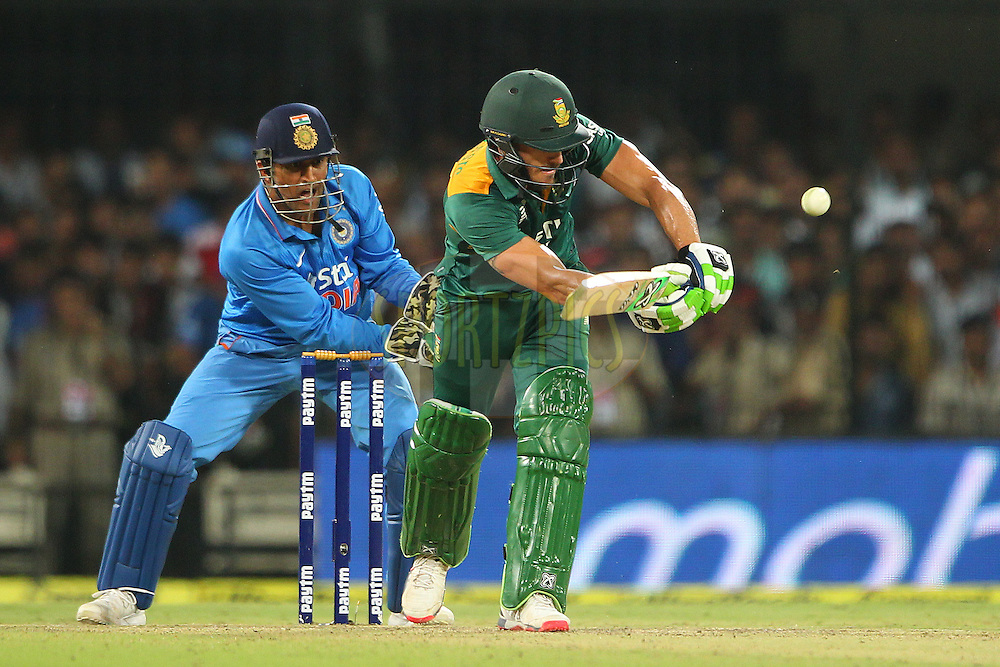 Faf du Plessis of South Africa  during the 2nd Paytm Freedom Trophy Series One Day International ( ODI ) match between India and South Africa held at the Holkar Stadium in Indore, India on the 14th October 2015<br /> <br /> Photo by Ron Gaunt/ BCCI/ Sportzpics