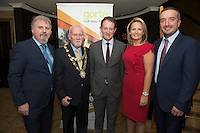 Repro free: At the Gorta Self Help Africa annual Ball at hotel Meyrick, Galway were Ronan Scully (Gorta Self Help Africa(,  Mayor of Galway Cllr Donal Lyons and Minister for Foreign aid Sean Sherlock TD. and Senator Lorraine Higgins and Ray Jordan Gorta Self Help Africa. Photo:Andrew Downes