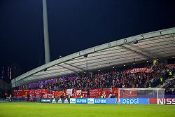 """MARIBOR, SLOVENIA - Tuesday, October 17, 2017: Liverpool supporters' banner """"Gerry Blayney RIP"""" during the UEFA Champions League Group E match between NK Maribor and Liverpool at the Stadion Ljudski vrt. (Pic by David Rawcliffe/Propaganda)"""