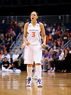 Sep 17 2011; Phoenix, AZ, USA; Phoenix Mercury guard Diana Taurasi (3) reacts on the court while playing against the Seattle Storm during the second half at the US Airways Center.  The Mercury defeated the Storm 92 - 83. Mandatory Credit: Jennifer Stewart-US PRESSWIRE.
