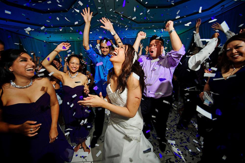 Wedding reception with off camera flash and uplight, captured by Santa Barbara wedding photographer Michelle Turner.