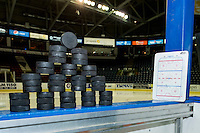 KELOWNA, CANADA - DECEMBER 2: Pucks stand on the bench on December 2, 2015 at Prospera Place in Kelowna, British Columbia, Canada.  (Photo by Marissa Baecker/Shoot the Breeze)  *** Local Caption ***