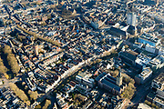 Nederland, Utrecht, Utrecht, 07-02-2018; centrum Utrecht, deel Wijk C. Oude gracht richting Neude, Jacobikerk, Jacobskerkhof.<br /> City centre Utrecht.<br /> <br /> luchtfoto (toeslag op standard tarieven);<br /> aerial photo (additional fee required);<br /> copyright foto/photo Siebe Swart