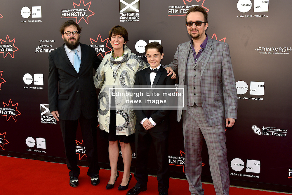 Left to Right, Alex Helfrecht (Director),Lorenzo Allchurch (Actor), Jorg Tittel (director) on the red carpet at the 2016 Edinburgh International Film Festival, WORLD PREMIERE of The White King at Cineworld, Edinburgh18th June 2016, (c) Brian Anderson | Edinburgh Elite media