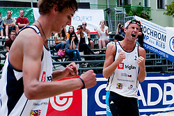 Danijel Pokersnik (left) celebrate point and Jan Pokersnik (right) at Zavarovalnica Triglav Beach Volley Open as tournament for Slovenian national championship on July 30, 2011, in Kranj, Slovenia. (Photo by Matic Klansek Velej / Sportida)