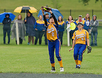 Franklin's Mariah Haney makes the out with Rachel Capri in the outfield during NHIAA DIvision III softball state championship with White Mountain on Saturday afternoon at PSU.  (Karen Bobotas/for the Laconia Daily Sun)