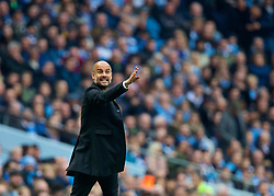MANCHESTER, ENGLAND - Saturday, April 7, 2018: Manchester City's manager Pep Guardiola reacts during the FA Premier League match between Manchester City FC and Manchester United FC at the City of Manchester Stadium. (Pic by David Rawcliffe/Propaganda)