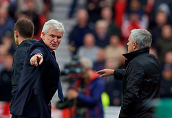 STOKE-ON-TRENT, ENGLAND - Saturday, September 9, 2017: Stoke City's manager Mark Hughes clashes with Manchester United's manager Jose Mourinho during the FA Premier League match between Stoke City and Manchester United at the Bet365 Stadium. (Pic by David Rawcliffe/Propaganda)