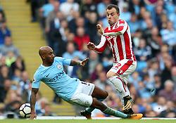 Xherdan Shaqiri of Stoke City takes on Fabian Delph of Manchester City - Mandatory by-line: Matt McNulty/JMP - 14/10/2017 - FOOTBALL - Etihad Stadium - Manchester, England - Manchester City v Stoke City - Premier League