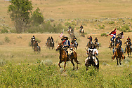 Custers Last Stand Reenactment. Crow Indian Reservation on Little Bighorn River, Montana, 7th Cavalry, George Custer.