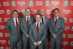CARDIFF, WALES - Monday, October 8, 2012: Wales' physiotherapist David Weeks, Medical Officer Doctor Jon Houghton, masseur Ben Thompson, physiotherapist Sean Connelly, head of performance Damien Roden during the FAW Player of the Year Awards Dinner at the National Museum Cardiff. (Pic by David Rawcliffe/Propaganda)