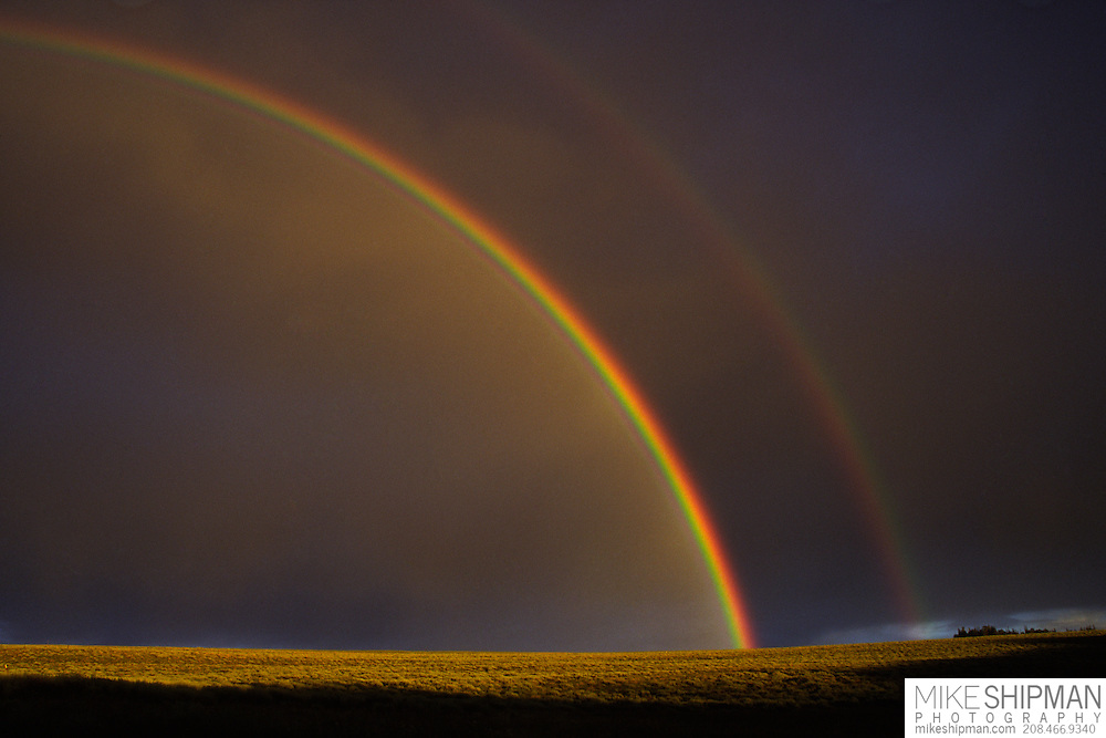 Rainbow and storm over the Owyhee Desert, Idaho