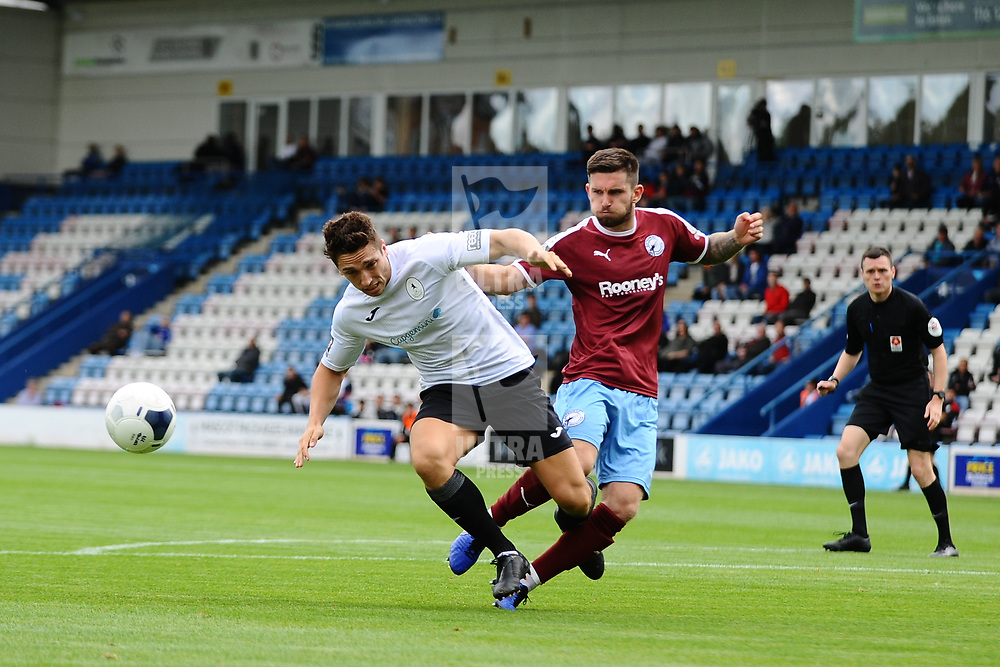 TELFORD COPYRIGHT MIKE SHERIDAN Adam Walker of Telford is fouled during the National League North fixture between AFC Telford United and Gateshead FC at the New Bucks Head Stadium on Saturday, August 10, 2019<br /> <br /> Picture credit: Mike Sheridan<br /> <br /> MS201920-005