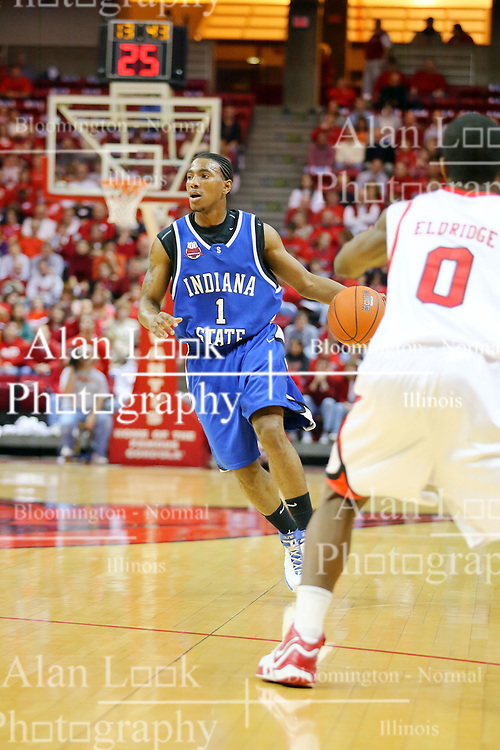 06 January 2007: Gabriel Moore brings the ball to the three point line. The Sycamores of Indiana State University topped the Redbirds home 54 - 50 inside Redbird Arena in Normal Illinois on the campus of Illinois State University.<br />