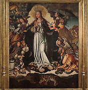 The Assumption of the Virgin, painting, 16th century, by the workshop of Vicente Gil and his son Manuel Vicente known as the Masters of Sardoal, in the Museu Nacional de Machado de Castro, Coimbra, Portugal. The painting was part of an altarpiece given to the Convento de Santa Clara by Queen Leonor, and it bears her ex libris and coat of arms. The museum was opened in 1913 and renovated 2004-2012. The city of Coimbra dates back to Roman times and was the capital of Portugal from 1131 to 1255. Its historic buildings are listed as a UNESCO World Heritage Site. Picture by Manuel Cohen