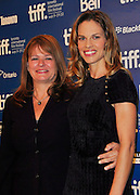 13.SEPT.2010. TORONTO<br /> <br /> HILARY SWANK AND BETTY ANNE WATERS ATTEND THE PRESS CONFRENCE OF NEW FILM CONVICTION AT THE 35TH TORONTO FILM FESTIVAL IN TORONTO.<br /> <br /> BYLINE: EDBIMAGEARCHIVE.COM<br /> <br /> *THIS IMAGE IS STRICTLY FOR UK NEWSPAPERS AND MAGAZINES ONLY*<br /> *FOR WORLD WIDE SALES AND WEB USE PLEASE CONTACT EDBIMAGEARCHIVE - 0208 954 5968*