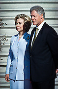 US President Bill Clinton and first lady Hillary Rodham Clinton await the arrival of Chinese Premier Zhu Rongji during the official arrival ceremony at the White House April 8, 1999 in Washington D.C.