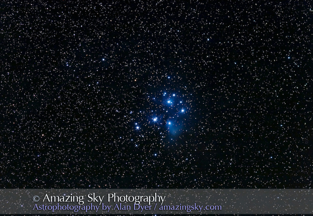 M45 with 200mm lens at f/4 for stack of two 4-minute exposures at ISO400. Canon 20Da camera. October 21, 2006