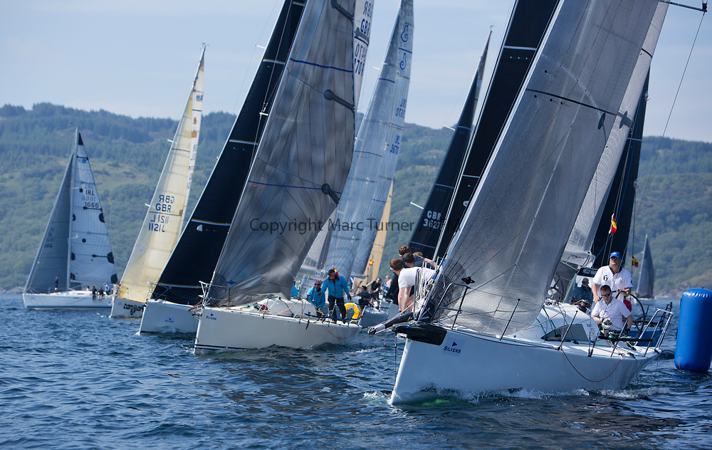 Silvers Marine Scottish Series 2017<br /> Tarbert Loch Fyne - Sailing<br /> <br /> RC35 Class start with GBR7667R, Now or Never 3, Neil Sandford, Fairlie YC, Mat 1010<br /> <br /> Credit Marc Turner / PFM