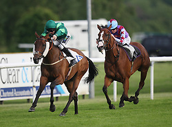Imperial Link ridden by Edward Greatrex wins the 7.40 The King's Norton Fillies' Handicap Stakes ahead of Phoenix Beat ridden by Pat Cosgrave (R) - Mandatory by-line: Jack Phillips/JMP - 21/06/2016 - HORSE RACING - Leicester Racecourse - Leicester, England - Leicester Racing