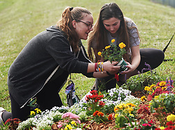 Kelly Mathisie, a senior at Stoneman Douglas, left, and Natalie Ziegler, a senior at North Broward Prep, plant flowers at the memorial garden outside Marjory Stoneman Douglas High School in Parkland, Fla. on Wednesday, February 14, 2019, on the anniversary of the shooting at the school. Photo by Joe Cavaretta/Sun Sentinel/TNS/ABACAPRESS.COM