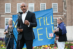 © Licensed to London News Pictures.14/07/2016. Bristol, UK.  MARVIN REES, elected mayor of Bristol, speaks to demonstrators on College Green in Bristol protesting in favour of the EU and against Brexit ,the likelihood of Britain leaving the EU, on the French Bastille Day. The protest is part of a series of protests, organised by The Bristol Stays organisation, which held a couple of protests immediately after the EU Referendum in the city centre. The protest is being staged to keep the campaign against Brexit going, with the campaign saying Britain's economy continues to suffer just at the prospect of leaving the European Union. Photo credit : Simon Chapman/LNP