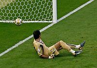 Photo: Glyn Thomas.<br />Italy v France. FIFA World Cup 2006 Final. 09/07/2006.<br /> Gianluigi Buffon is beaten by Zinedine Zidane's penalty for France.