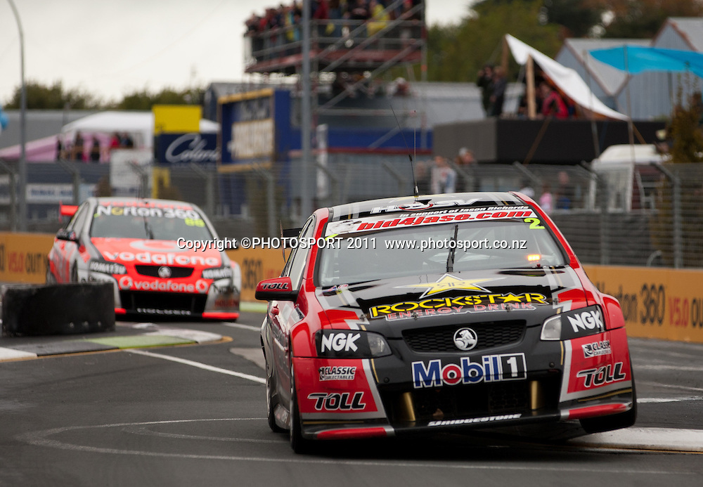 Garth Tander goes through the chicane in the main race on day two of the ITM 400 Hamilton V8 Supercars on the street circuit in Frankton, Hamilton, New Zealand. Saturday 16 April 2011. Photo: Stephen Barker/PHOTOSPORT