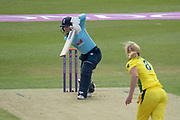 Tammy Beaumont batting against Ellyse Perry during the Royal London Women's One Day International match between England Women Cricket and Australia at the Fischer County Ground, Grace Road, Leicester, United Kingdom on 2 July 2019.