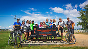 Cyclists at the start of the Otago Central Rail Trail, REI Adventures cycling New Zealand