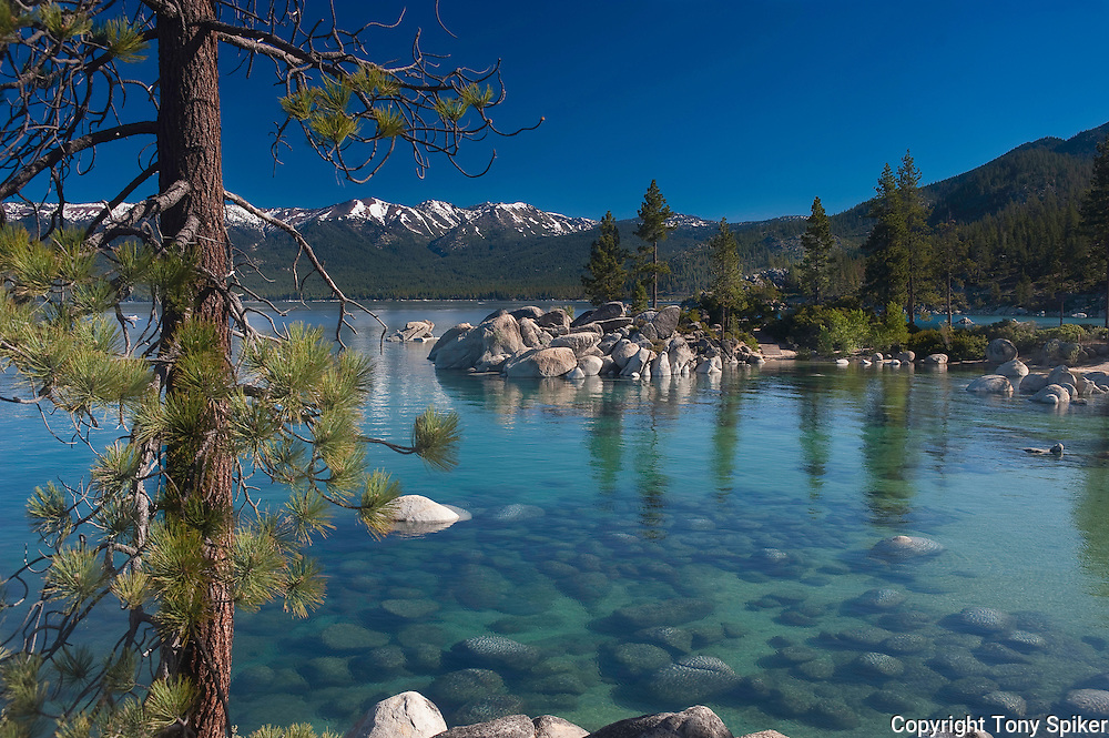 """""""Sand Harbor 1"""" - A photograph of the clear blue water of Lake Tahoe taken at Sand Harbor, on the Eastern Shore of Lake Tahoe"""