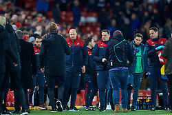 LIVERPOOL, ENGLAND - Boxing Day, Tuesday, December 26, 2017: Swansea City's assistant care-taker manager Cameron Toshack shakes hands with Liverpool's manager Jürgen Klopp during the FA Premier League match between Liverpool and Swansea City at Anfield. (Pic by David Rawcliffe/Propaganda)