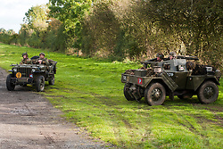 Reenactors portraying the 6th Airorne Division, in a  Willys Jeep and a Daimler Scout Car &quot;Dingo&quot; at the Pickering Showground Day 2<br />